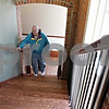 Rob Winner – rwinner@shawmedia.com<br /> <br /> Sycamore resident Jim Ward begins climbing a set of stairs while touring the historical train depot in Sycamore on Saturday, Oct. 27, 2012. Ward's grandparents met for the first time while the train depot was in use. The depot is now home to the DeKalb County Community Foundation.