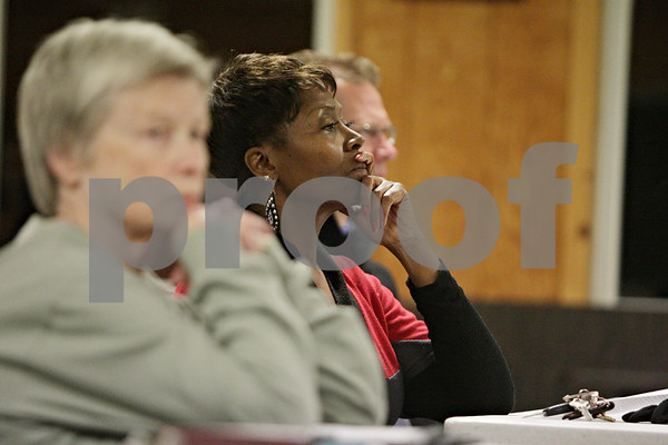 Rob Winner – rwinner@shawmedia.com<br /> <br /> Cortland resident Georgia Neal listens to Mac McIntyre (not pictured) speak during a Stop the Mega-Dump public meeting in Cortland, Ill., Thursday, Nov. 15, 2012.
