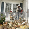 Rob Winner – rwinner@shawmedia.com<br /> <br /> Northern Illinois ALPFA member Leo Berrun uses a leaf blower during the Rake Across DeKalb event at a home located on the 200 block of Fairview Drive on Saturday, Nov. 10, 2012.
