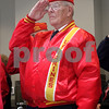 Don Jones, a member of the DeKalb County Marine Corps League, salutes during the Memorial Day and Courthouse expansion ceremonies on Sunday.<br /> <br /> Gary L. Gates / For the Daily Chronicle