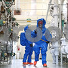 Kyle Bursaw – kbursaw@shawmedia.com<br /> <br /> In a practice simulation, DeKalb firefighter/paramedic Greg Thornton (front) and Rochelle firefighter/paramedic Lieutenant Jason Underwood search for signs of a chlorine leak in the water treatment plant on West Dresser Road in DeKalb, Ill. on Thursday, Nov. 15, 2012.