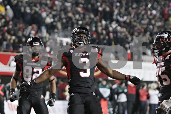 Rob Winner – rwinner@shawmedia.com<br /> <br /> Northern Illinois running back Akeem Daniels (3) celebrates his 6-yard touchdown run during the third quarter in DeKalb, Ill., Wednesday, Nov. 14, 2012. NIU defeated Toledo, 31-24.