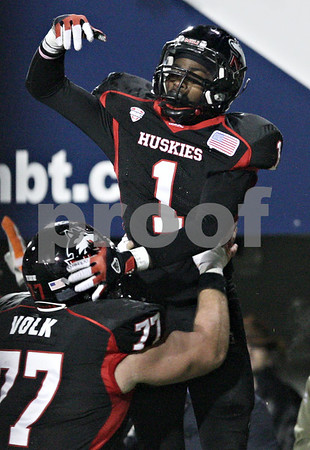 Rob Winner – rwinner@shawmedia.com<br /> <br /> Northern Illinois wide receiver Martel Moore (1) celebrates his 5-yard touchdown reception during the second quarter in DeKalb, Ill., Wednesday, Nov. 14, 2012. NIU defeated Toledo, 31-24.