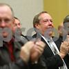 Kyle Bursaw – kbursaw@shawmedia.com<br /> <br /> Gary Hanson and others at the county board meeting give a standing ovation to  Ray Bockman for his years of service as the county administrator in Sycamore, Ill. on Wednesday, Nov. 21, 2012.