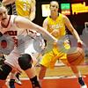 Rob Winner – rwinner@shawmedia.com<br /> <br /> Northern Illinois center McKenzie Hoelmenn (45) loses the ball under the basket during the first half at the Convocation Center in DeKalb, Ill., Wednesday, Nov. 21, 2012.