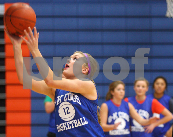 Kyle Bursaw – kbursaw@shawmedia.com<br /> <br /> Genoa-Kingston's Danielle Engel shoots during practice on Monday, Oct. 29, 2012.