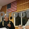 Rob Winner – rwinner@shawmedia.com<br /> <br /> Mac McIntyre (left) speaks during a Stop the Mega-Dump public meeting while Dan Kenney listens in Cortland, Ill., Thursday, Nov. 15, 2012. The two urged Cortland Township residents to band together to stop the proposed landfill expansion.