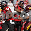 Rob Winner – rwinner@shawmedia.com<br /> <br /> Northern Illinois defensive end Sean Progar (95) intercepts a pass during the third quarter at Huskie Stadium in DeKalb, Ill., Saturday, Sept. 29, 2012. Northern Illinois defeated Central Michigan, 55-24.