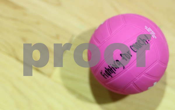 Kyle Bursaw – kbursaw@shawmedia.com<br /> <br /> A miniature pink volleyball sits on the floor of Kishwaukee College's gymnasium before a volleyball game. The game was also a fundraiser for Black Hawk coach Mary Davis' hospital fund.