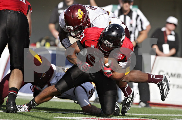 Rob Winner – rwinner@shawmedia.com<br /> <br /> Northern Illinois running back Leighton Settle (23) finds the end zone after a 6-yard run during the second quarter at Huskie Stadium in DeKalb, Ill., Saturday, Sept. 29, 2012. Northern Illinois defeated Central Michigan, 55-24.
