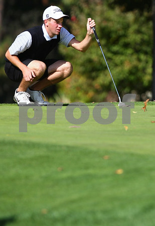 Kyle Bursaw – kbursaw@shawmedia.com<br /> <br /> Sycamore's Curtis Swartzendruber eyes the terrain of the first green at Sycamore Golf Course on Tuesday, Oct. 2, 2012.
