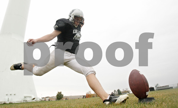 Rob Winner – rwinner@shawmedia.com<br /> <br /> Kaneland kicker Matt Rodriguez practices kicking off during practice in Maple Park Wednesday, Oct. 3, 2012.