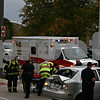 Jeff Engelhardt – jengelhardt@shawmedia.com<br /> Emergency responders pull the driver of a vehicle that was struck by a cement truck onto a stretcher Wednesday in the parking lot of the Northern Illinois University Visitor and Alumni Center. At around 3:55 p.m. Wednesday, a sedan traveling north on Annie Glidden Road was struck from behind by a cement truck after the sedan reportedly changed lanes in front of the truck and stopped abruptly to make a left turn, said Jeff McMaster, battalion chief for DeKalb Fire Department. <br /> All four people in the sedan were transported to Kishwaukee Community Hopsital. Three had minor injuries and one had more serious injuries, McMaster said. The crash occured near the intersection of Annie Glidden Road and Stadium Drive.