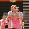 Rob Winner – rwinner@shawmedia.com<br /> <br /> DeKalb's Madison Lord bumps a ball during the second game in DeKalb Tuesday, Oct. 9, 2012. Kaneland defeated DeKalb, 25-20, 29-31 and 25-20.
