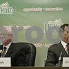 Rob Winner – rwinner@shawmedia.com<br /> <br /> Republican Bill Brady (left) and Democrat Ronald Matekaitis, who are running for judge of the 23rd Judicial Circuit, leave their seats after speaking at the League of Women Voters of Dekalb County Candidates' Night at DeKalb City Hall Wednesday, Oct. 17, 2012.
