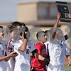 Rob Winner – rwinner@shawmedia.com<br /> <br /> Huntley's Lucas Baker (7) and teammates celebrate their victory over DeKalb at the Class 3A DeKalb Regional final Saturday, Oct. 20, 2012.