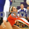 Kyle Bursaw – kbursaw@shawmedia.com<br /> <br /> Genoa-Kingston Libero Olivia Cotton controls the ball during their game against St. Edward at Class 3A Hampshire regional quarterfinal at Hampshire High School on Monday, Oct. 22, 2012. St. Edward defeated Genoa-Kingston 25-20, 25-16.