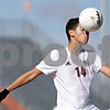 Rob Winner – rwinner@shawmedia.com<br /> <br /> Huntley's Angel Sanchez (14) controls a ball in the first half during the Class 3A DeKalb Regional final Saturday, Oct. 20, 2012. Huntley defeated DeKalb, 3-1.
