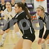 Rob Winner – rwinner@shawmedia.com<br /> <br /> Sycamore's Hannah Knox (front) bumps a ball in the first game against Burlington Central during the Class 3A Hampshire Regional semifinals Tuesday, Oct. 23, 2012. Sycamore defeated Burlington Central, 25-23 and 25-21.