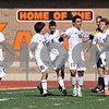 Rob Winner – rwinner@shawmedia.com<br /> <br /> Huntley's Niko Mihalopoulos (10) celebrates his goal in the second half with his teammates during the Class 3A DeKalb Regional final Saturday, Oct. 20, 2012. Huntley defeated DeKalb, 3-1.
