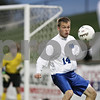Rob Winner – rwinner@shawmedia.com<br /> <br /> Hinckley-Big Rock's Billy Weissinger (14) tries to settle a ball near the Alton Marquette goal in the second half during the Class 1A State semifinal in Normal, Ill., Friday, Oct. 26, 2012. Alton Marquette defeated H-BR, 4-3.