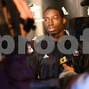 Kyle Bursaw – kbursaw@shawmedia.com<br /> <br /> Northern Illinois University basketball player Antone Christian talks to reporters during the NIU basketball media day at O'Leary's in DeKalb, Ill. on Monday, Oct. 29, 2012.