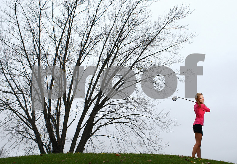 Kyle Bursaw – kbursaw@shawmedia.com<br /> <br /> Genoa-Kingston's Emily Wakeley is the Daily Chronicle's 2012 girls golfer of the year.<br /> <br /> Photographed at the Oak Club in Genoa, Ill. on Thursday, Oct. 25, 2012.