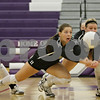 Rob Winner – rwinner@shawmedia.com<br /> <br /> Sycamore's Ellyn Heegaard (left) and Brittany Huber go for a ball during the first game of the Class 3A Hampshire Regional final on Thursday, Oct. 25, 2012. Kaneland defeated Sycamore, 25-19 and 25-23.
