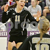 Rob Winner – rwinner@shawmedia.com<br /> <br /> Sycamore's Ellyn Heegaard (11) celebrates after a kill in the first game against Burlington Central during the Class 3A Hampshire Regional semifinals Tuesday, Oct. 23, 2012. Sycamore defeated Burlington Central, 25-23 and 25-21.