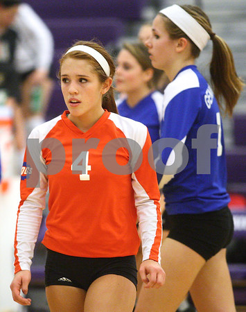 Kyle Bursaw – kbursaw@shawmedia.com<br /> <br /> Genoa-Kingston Libero Olivia Cotton reacts to the Cogs 25-20, 25-16 loss to St. Edward in the Class 3A Hampshire regional quarterfinal at Hampshire High School on Monday, Oct. 22, 2012.