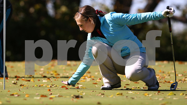 Kyle Bursaw – kbursaw@shawmedia.com<br /> <br /> Indian Creek's Virginia Filicetti brushes away fallen leaves in her ball's path to the fourth hole at the Oak Club in Genoa, Ill. on Monday, Oct. 8, 2012.