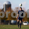 Kyle Bursaw – kbursaw@shawmedia.com<br /> <br /> Hiawatha's J.J. Smith heads the ball in the open field during the first half of the Class 1A Genoa-Kingston Regional Semifinal against Chicagoland Jewish High School's at Genoa-Kingston High School on Wednesday, Oct. 10, 2012.