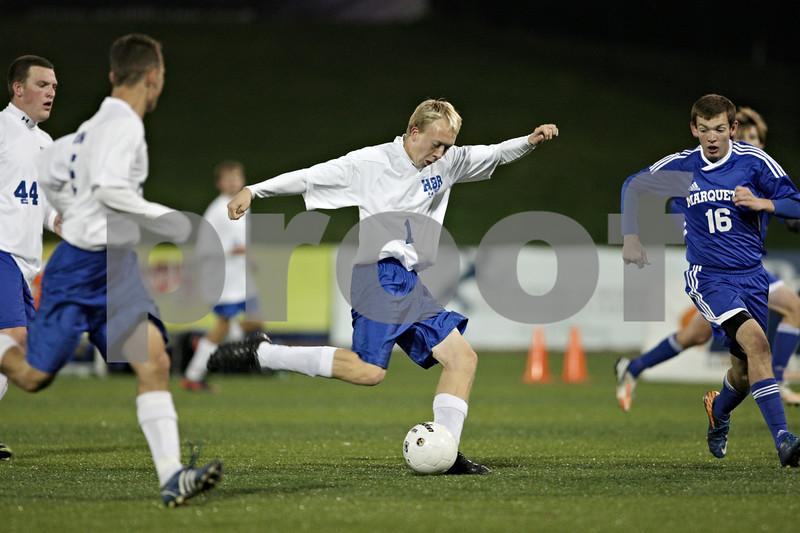 Rob Winner – rwinner@shawmedia.com<br /> <br /> Hinckley-Big Rock's Jared Madden (1) takes a shot late in the second half during the Class 1A State semifinal in Normal, Ill., Friday, Oct. 26, 2012. Alton Marquette defeated H-BR, 4-3.