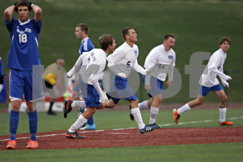Rob Winner – rwinner@shawmedia.com<br /> <br /> Hinckley-Big Rock's Bernie Conley (5)celebrates his goal in the first half during the Class 1A State semifinal in Normal, Ill., Friday, Oct. 26, 2012. Alton Marquette defeated H-BR, 4-3.