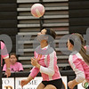 Rob Winner – rwinner@shawmedia.com<br /> <br /> DeKalb's Alexis Hammond (10) has her kill attempt rejected during the first game in DeKalb Tuesday, Oct. 9, 2012. Kaneland defeated DeKalb, 25-20, 29-31 and 25-20.