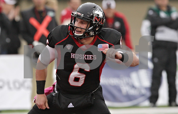 Rob Winner – rwinner@shawmedia.com<br /> <br /> Northern Illinois quarterback Jordan Lynch (6) celebrates after a 4-yard touchdown run during the second quarter in DeKalb, Ill., Saturday, Oct. 13, 2012. NIU defeated Buffalo, 45-3.