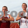 Kyle Bursaw – kbursaw@shawmedia.com<br /> <br /> DeKalb cross country runners Tyler Greenwood (left) and Marc Dubrick channel their inner 'Karate Kid' before a new set of laps while practicing on the track on Tuesday, Oct. 23, 2012. The boys team has been watching a different film in the Karate Kid series before each of their last few races.