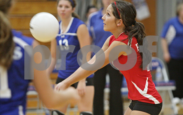 Rob Winner – rwinner@shawmedia.com<br /> <br /> Hinckley-Big Rock libero Jaime Beitel controls a ball during the first game against Kaneland Tuesday night. Kaneland defeated H-BR, 25-13 and 25-11.