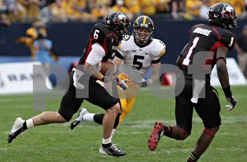Rob Winner – rwinner@shawmedia.com<br /> <br /> Northern Illinois quarterback Jordan Lynch carries the ball for a 73-yard touchdown run in the third quarter at Soldier Field in Chicago, Ill., Saturday, Sept. 1, 2012. Iowa defeated NIU, 18-17.