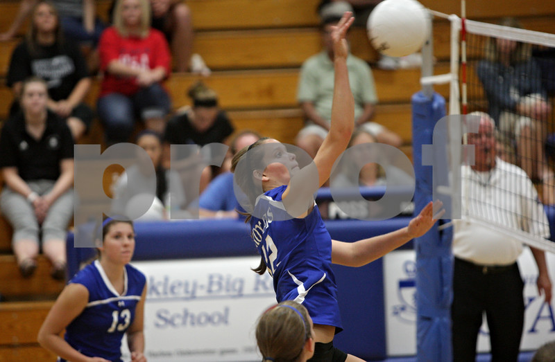 Rob Winner – rwinner@shawmedia.com<br /> <br /> Hinckley-Big Rock's Beth Klein attempts a kill during the second game against Kaneland Tuesday night. Kaneland defeated H-BR, 25-13 and 25-11.