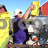 Kyle Bursaw – kbursaw@shawmedia.com<br /> <br /> Terrie Tuntland, one of the co-owners of Waterman Winery, pours concord grapes into a de-stemming and crushing machine on Monday, Sept. 10, 2012. Waterman Winery owners say that hot and dry weather from the summer drought may lead to more concentrated grapes and better-than-usual wine, but they wont know for sure until the wine is completed more than a year from now.