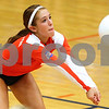 Kyle Bursaw – kbursaw@shawmedia.com<br /> <br /> Genoa-Kingston defensive specialist Olivia Cotton controls the ball during the first game of the Cogs 25-11, 25-22 loss to Burlington Central on Monday, Sept. 10, 2012.