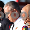 Kyle Bursaw – kbursaw@shawmedia.com<br /> <br /> (From left) Firefighter/paramedic John Pink, Assistant Chief Art Zern and Chief Pete Polarek bow their heads for a closing prayer of a  9/11 memorial service at Sycamore Fire Station Two on Tuesday, Sept. 11, 2012