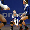 Kyle Bursaw – kbursaw@shawmedia.com<br /> <br /> Genoa-Kingston's Emily Borak controls the ball in the first game of the Cogs 25-11, 25-22 loss to Burlington Central on Monday, Sept. 10, 2012.