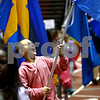 Kyle Bursaw – kbursaw@shawmedia.com<br /> <br /> Noah Bauch, a fifth-grader at Jefferson Elementary reacts while waving a flag while making his way around the Convocation Center track during the Parade of Flags on Friday, Sept. 21, 2012.