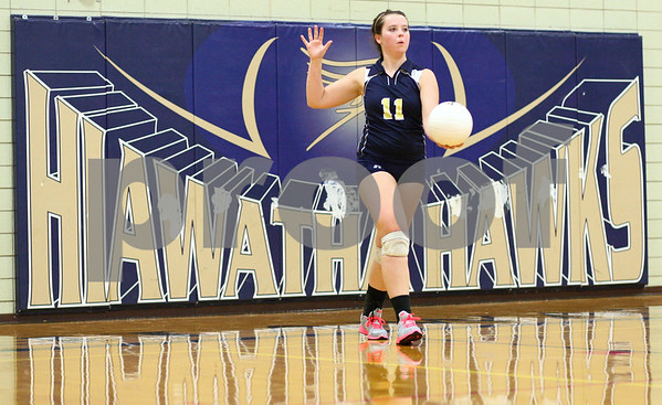 Kyle Bursaw – kbursaw@shawmedia.com<br /> <br /> Hiawatha's Abby Turner prepares to serve during the second game of Hiawatha's victory over Christian Liberty Academy in Kirkland, Ill. on Monday, Sept. 17, 2012