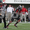 Rob Winner – rwinner@shawmedia.com<br /> <br /> Northern Illinois wide receiver Martel Moore (1) hauls in a Jordan Lynch (not pictured) pass for a 65-yard touchdown during the fourth quarter at Huskie Stadium in DeKalb, Ill., on Saturday, Sept. 22, 2012. Northern Illinois defeated Kansas, 30-23.