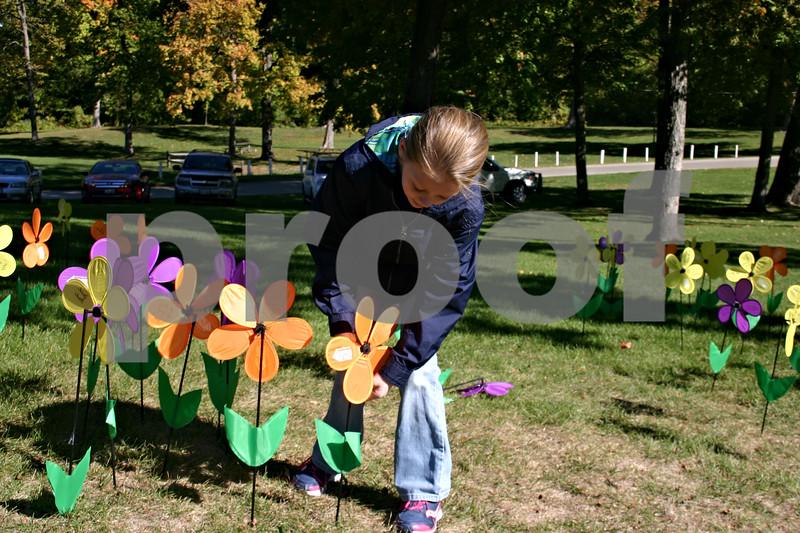 "Jenna Strohschein of South Elgin ""plants"" a flower in the memorial garden set up Sunday in Hopkins Park as part of DeKalb's Walk to End Alzheimer's, organized by the Alzheimer's Association. Walk participants raised more than $30,000.<br /> <br /> Caitlin Mullen - cmullen@shawmedia.com"