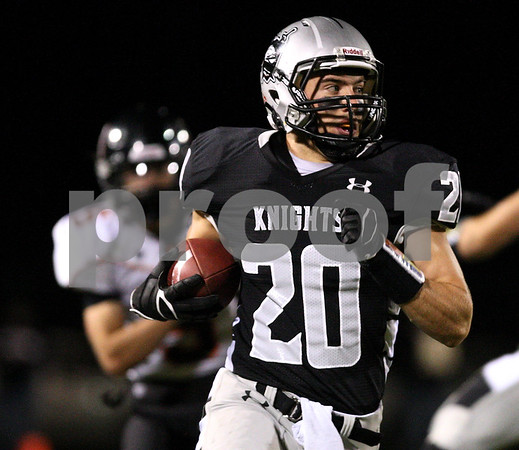 Kyle Bursaw – kbursaw@shawmedia.com<br /> <br /> Kaneland wide receiver Dylan Nauert finds space in the first quarter of the game against DeKalb at Kaneland High School on Friday, Sept. 28, 2012.