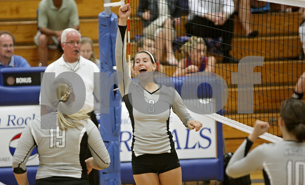 Rob Winner – rwinner@shawmedia.com<br /> <br /> Kaneland's Ellie Dunn (3) celebrates a kill during Tuesday's match at Hinckley-Big Rock. Kaneland defeated H-BR, 25-13 and 25-11.